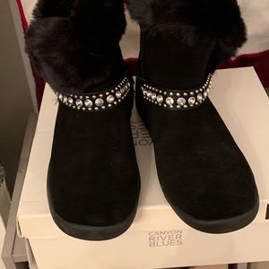 Genuine leather booties rhinestones size 8